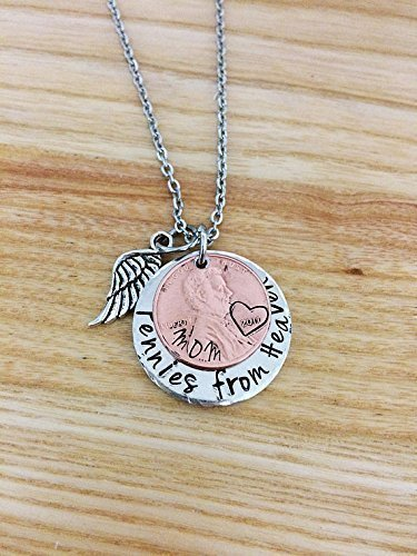 Pennies from Heaven Necklace, Penny Necklace, hand Stamped memorial necklace