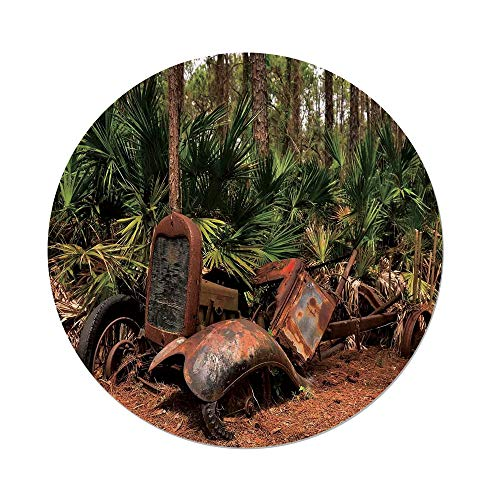 Polyester Round Tablecloth,Rustic Home Decor,Rusty Tractor Mule Truck Deep in Forest with Tropical Palm Trees Image,Brown Green,Dining Room Kitchen Picnic Table Cloth Cover,for Outdoor Indoor
