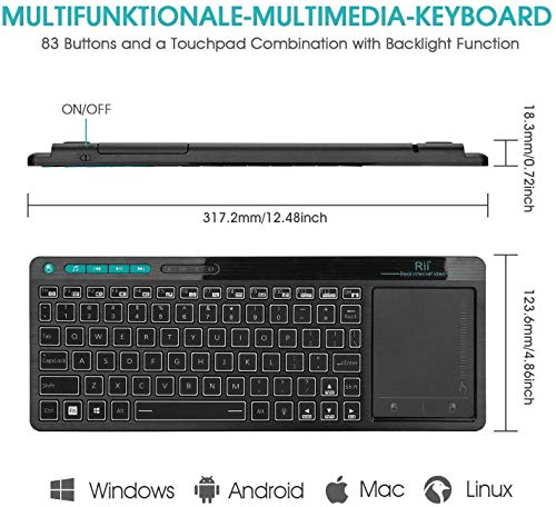 Rii K18 Plus Wireless 3-LED Color Backlit Multimedia Keyboard with Multi-Touch Big Size Trackpad,Rechargable Keyboard for Android TV Box,PC,Smart TV,Xbox,Raspberry Pi, HTPC IPTV,Windows, MacOS