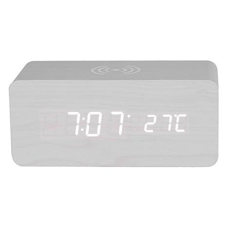 Vbestlife Qi Wireless Charging Altavoz Despertador Portátil con LED Luz Reloj Espejo Pantalla 75% Eficiencia