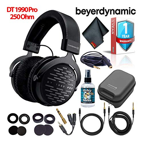 Beyerdynamic DT 1990 Pro 250 Ohm Open-Back Studio Reference Headphones with Hard Case, Splitter, Cleaning Kit, and 1-Year Extended Warranty