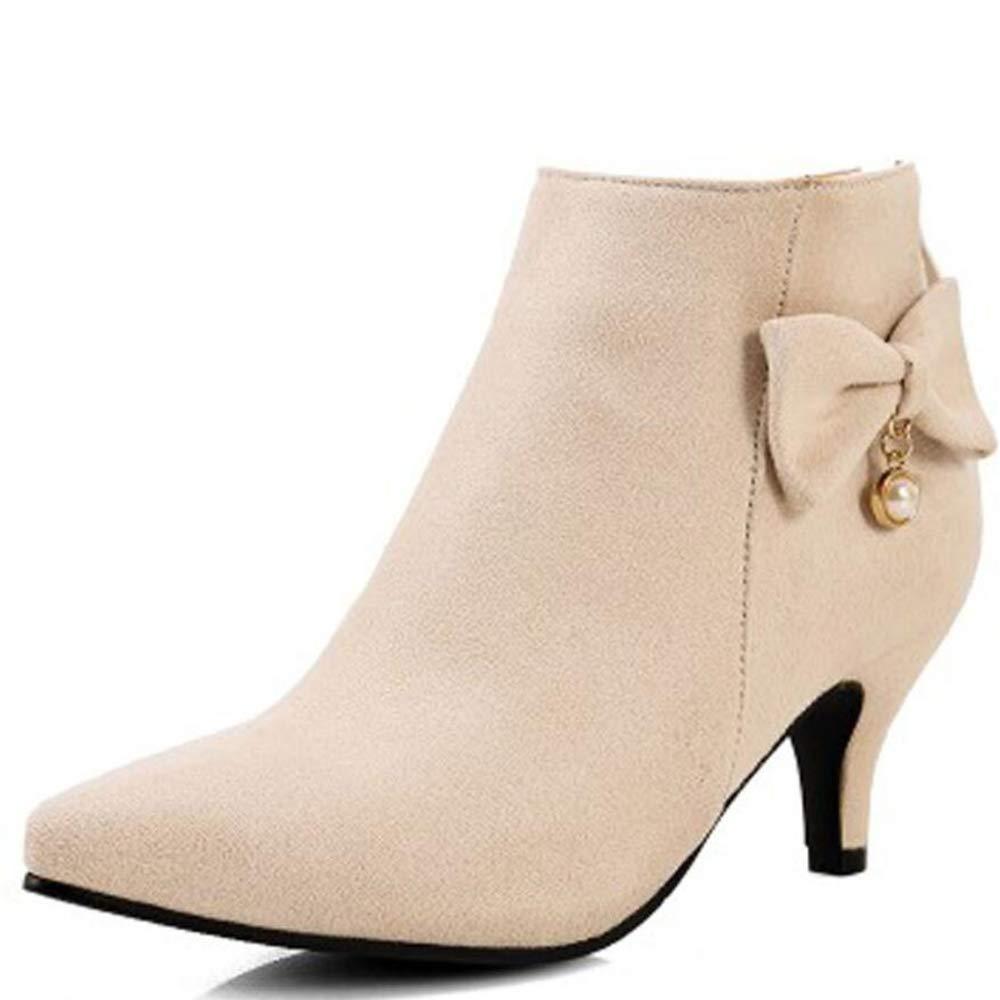 CITW Botas De Mujer Otoño E Invierno Zapatos De Mujer De Gran Tamaño Señaló Botas De Tacón Alto Damas Botas,Beige,UK9/EUR43UK9/EUR43|Beige
