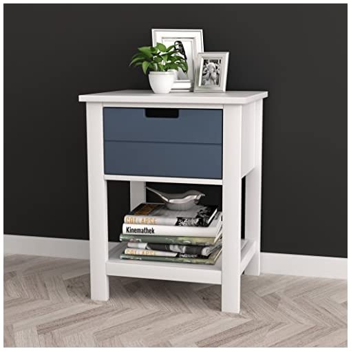 Bedroom White/Grey Finish Two-Tone Modern Mid-Century Style Nightstand Side Table with Drawer and Shelf farmhouse nightstands
