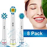Itari 8 PK Oral-B Replacement Brush Heads Compatible Braun Electric Toothbrush for Lifetime Teeth and Healthier Smile, 8 Heads of 3 Variety Type - Compatible Oral-B Pro 1000, 5000, 8000 & More