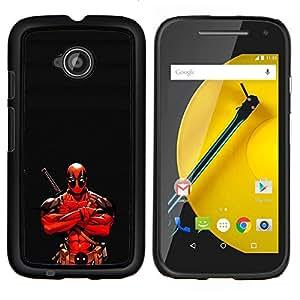 Ninja Warrior héroe- Metal de aluminio y de plástico duro Caja del teléfono - Negro - Motorola Moto E2 / E(2nd gen)