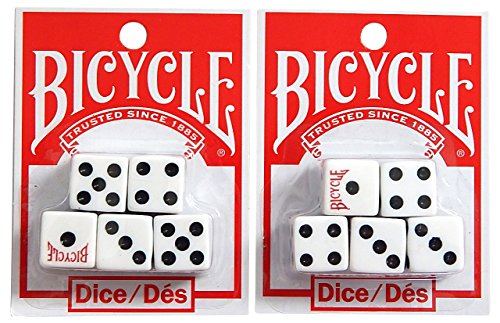 - Bicycle White Dice 5 Count Set (2-Pack)