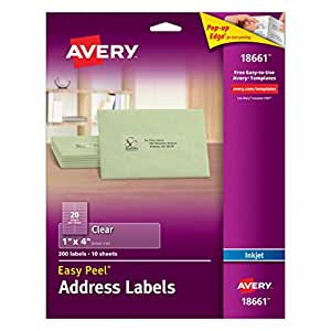 Avery Easy Peel Clear Shipping Labels for Inkjet Printers, 1 x 4 Inches, Pack of 200 (18661)