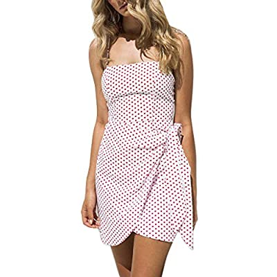 ShenPourtor Women Dress Polka Dots Print V Neck Spaghetti Strap Beach Cami Loose Dress