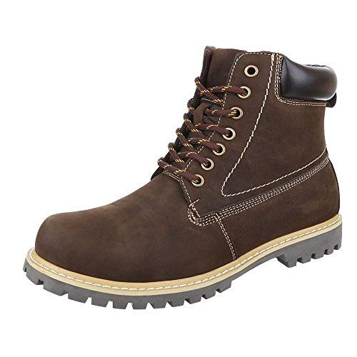 Ital-Design Stiefeletten Herren Leder Schuhe Desert Boots Blockabsatz  Leicht Gefütterte Schnürsenkel Boots Braun b4717abd55