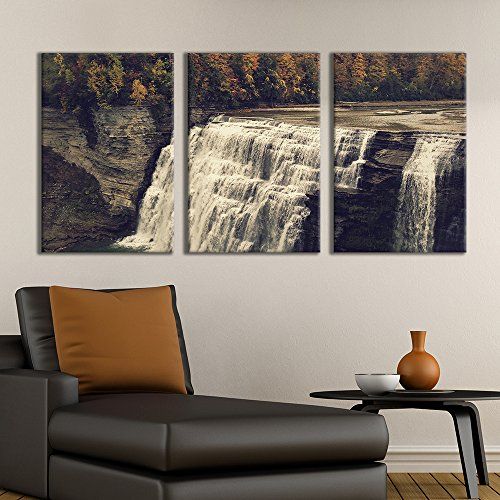 3 Panel Majestic Natural Landscape Triptych Series Waterfall Stairecase x 3 Panels