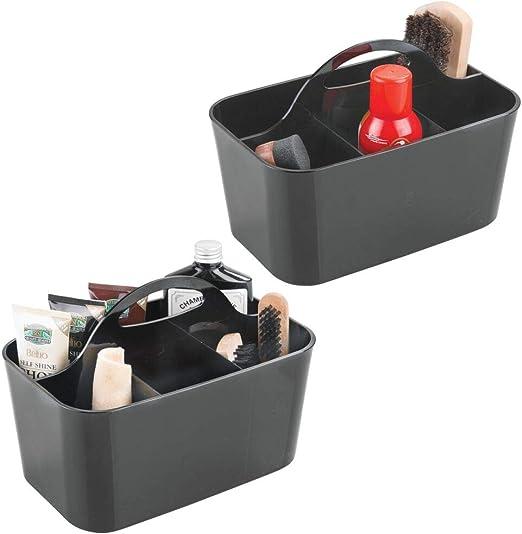 mDesign Juego de 2 cajas de almacenaje con 4 compartimentos – Ideales cestas plásticas resistentes para artículos de limpieza del calzado – Cesto organizador con asa para un transporte fácil – negro: Amazon.es: Hogar