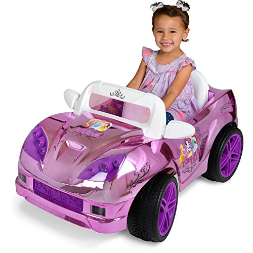 Disney Princess Convertible Car 6 Volt Battery Operated Electric Powered Wheels Ride on Toys for Girls, Pink/Purple - Includes