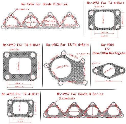 PTNHZ 5 Pcs Graphite Aluminum Turbo Charger Inlet Manifold Flange Down Pipe Gasket for T3