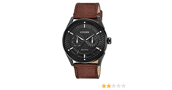 Amazon.com: Citizen CTO Black Dial Leather Strap Mens Watch BU4025-08E: Watches