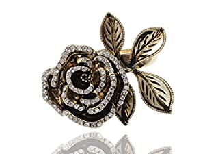 Carved Single Rose White Rhinestone Accented Fashion Ring