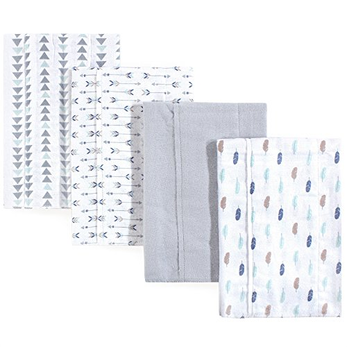 Luvable Friends Baby Layered Flannel Burp Cloth, Boy Feather