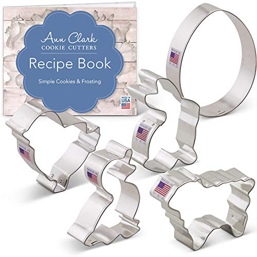 Easter Animal Cookie Cutter Set with Recipe Book - 5 piece - Egg, Bunny, Lamb, Duck and Chick - Ann Clark - Tin Plated Steel