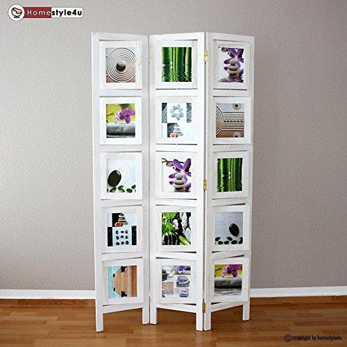 Homestyle4u 3 fach Paravent Raumteiler Holz Trennwand in weiß whitewash Foto Fotowand