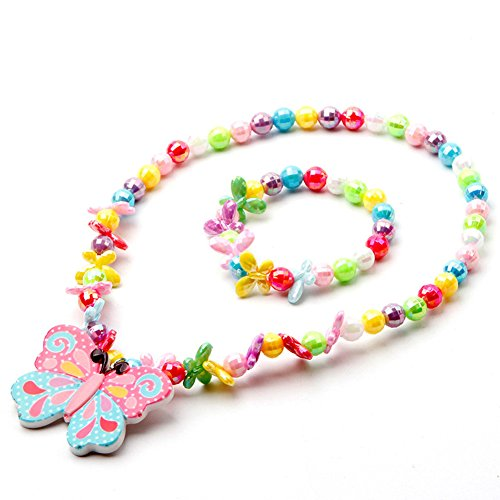 SYTOMOR Jewelry Sets for Little Girls - Colorful Stretch Butterfly Necklace and Bracelet
