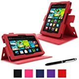 "rooCASE Amazon Kindle Fire 7 Case - (2013 Previous Generation) Dual View Multi Angle Tablet 7-Inch 7"" Stand Cover - RED (With Auto Wake / Sleep Cover)"