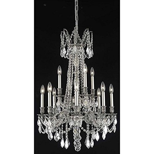Elegant Lighting 9212D24PW/RC Rosalia Collection 12-Light Hanging Fixture with Royal Cut Crystals, Pewter Finish