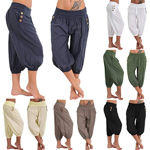 Elastic Casual Relaxed Loose Fit Cotton Linen Pants Harem Trousers Cropped Pants wodceeke Women Plus Size Pants