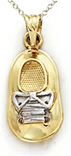 14kt Two Tone Gold Baby Boy Shoe Pendant - Chain Included