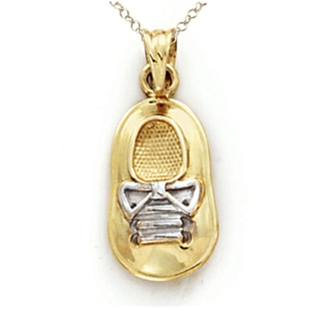 14kt Two Tone Gold Baby Boy Shoe Pendant - Chain Included Finejewelers CG14630