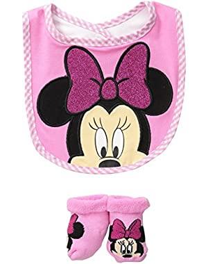 Baby Girls' Minnie Bib Bootie Set