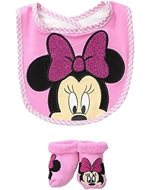 Baby Girls' Minnie Bib Bootie Set
