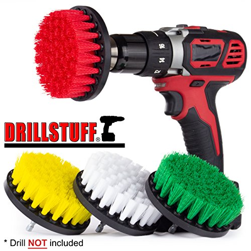 - 4in 4 Piece Soft, Medium and Stiff Power Scrubbing Brush Drill Attachment for Cleaning Showers, Tubs, Bathrooms, Tile, Grout, Carpet, Tires, Boats by DrillStuff