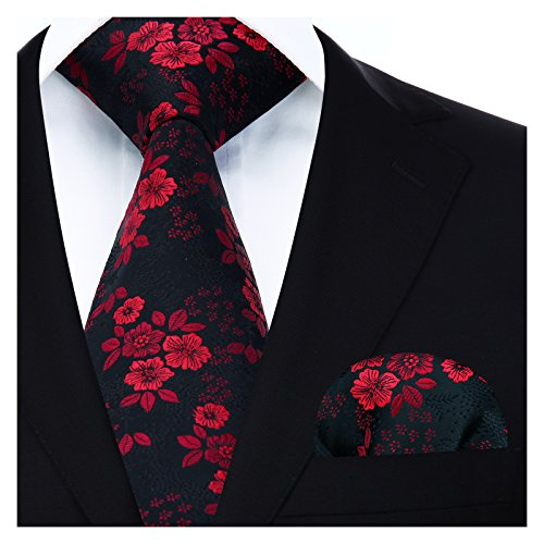 BIYINI Mens Tie Floral Necktie and Pocket Square Set for Wedding Party Red / Black