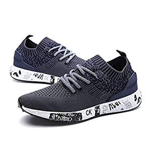 gracosy Mens Running Shoes Lightweight Trainers Gym Walking Fitness Running Sneakers Sports Shoes Outdoor Athletic Casual Fashion Anti-Slip Lace Up Breathable Flat Shoes for Unisex