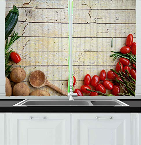"""Ambesonne Rustic Kitchen Curtains, Cooking Vegetables Theme Recipe Chef Rustic Wood Planks Utensil Artwork Image, Window Drapes 2 Panel Set for Kitchen Cafe Decor, 55"""" X 39"""", Brown Green"""