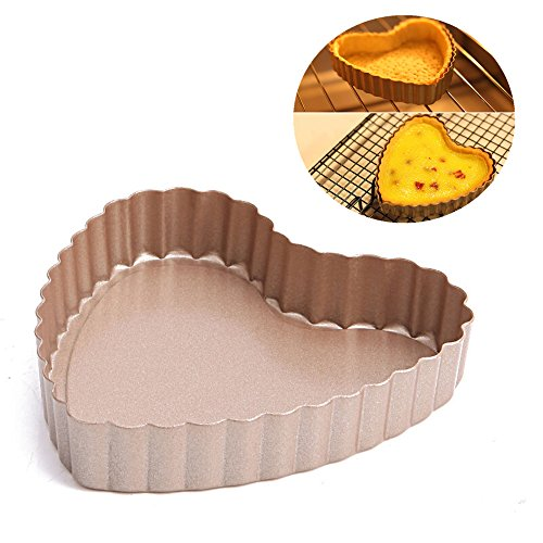 2-PCS [Non-Stick] Metallic Lovely Sweet-Heart Tart Pan Mold [Removable Bottom] Pie Fondant Cake Baking Torte Pastry Mould Set - Special Festive Valentine Gift for Boyfriend, Girlfriend & Lovers