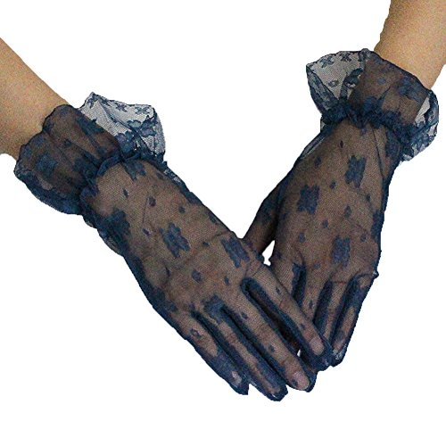 PearlBridal Women's Vintage Short Floral Lace Wedding Gloves 2018 Lace Finger Prom Gloves Navy Blue - Stretch Vintage Gloves