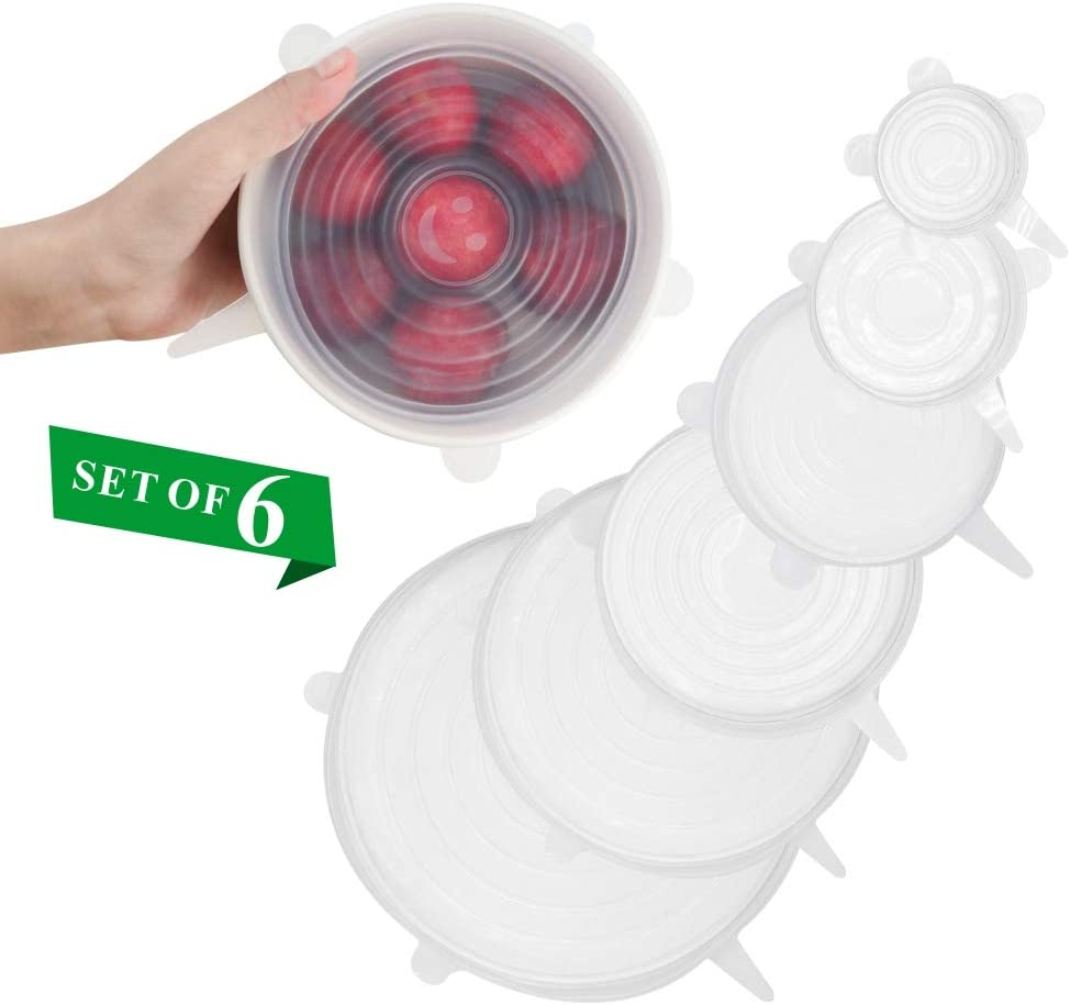 Vech Silicone Stretch Lids, 6 Pack Reusable Durable and Expandable Lids to Keep Food Fresh, Fit Various Sizes and Shapes of Containers Food Covers or Bowl Covers, Preservative Wrappers for Fruits.