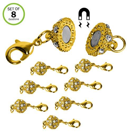 Evelots Magnetic Jewelry Clasps, Rhinestone Ball, Goldtone Or Silvertone- Set/8