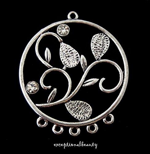 2 Silver Chandelier Earring Leaf Vine Round Crystal Rhinestone Bead 5 Loop Drops