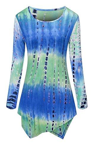 Joelynne Women's Long Sleeve Round-neck T-shirt Handkerchief Hem Tie Dye Tunic Top