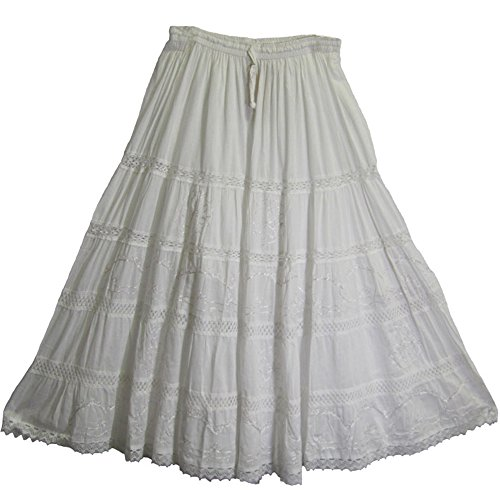 Cotton Embroidered Skirt (Bohemian White Embroidered Lace 3-Tier Gauze Cotton Long Maxi Skirt)