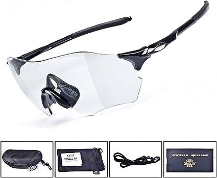 RockBros  UV400 Cycling Glasses Photochromic Anti-fog Goggles Sunglasses Black