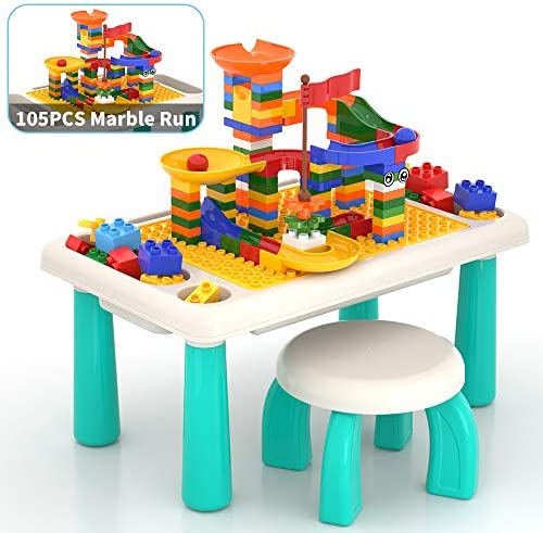 Lucky Doug Block Table for Toddler105PCS Marble Run Sets 3-in-1 Activity Play Table SetChair for Kids Toddlers Building Learning Playing
