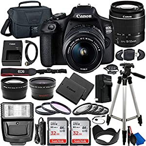 Canon EOS 2000D (Rebel T7) DSLR Camera with EF-S 18-55mm f/3.5-5.6 DC III Lens & Deluxe Accessory Bundle – Includes: 2x…
