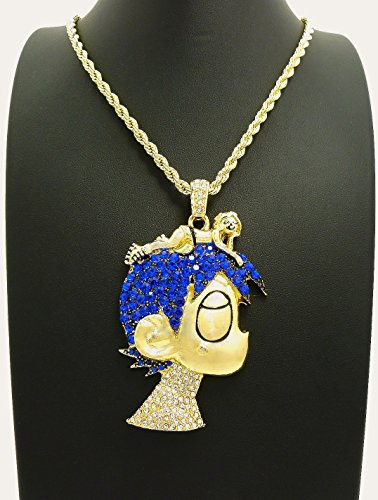 Gwood L Uzi Cartoon Iced Out Pendant Necklace Gold Color