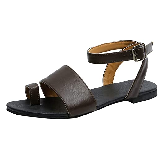 7e13a3868805 refulgence Women s Summer Toe Ring Flat Buckle Strap Sandals Open Toe Rome  Shoes Wide Feet for