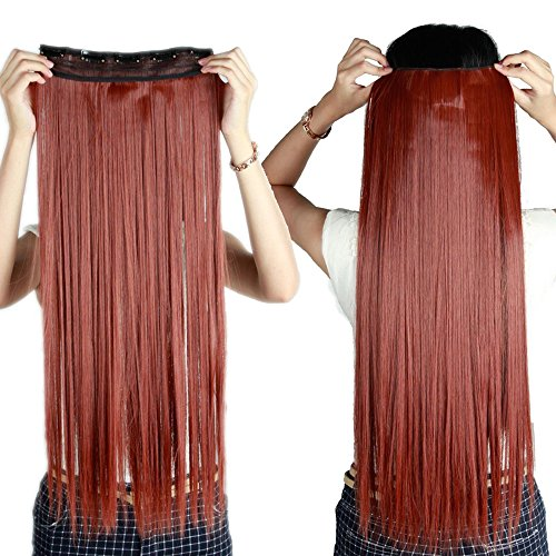 S-noilite 26 Inches 66CM Straight Auburn Ginger 3/4 Full Head Clip in Hair Extension One Piece 5 Clips - Extension Ginger
