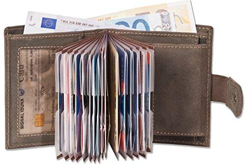 Woodland - Super-Kompakte Geldbörse mit XXL-Kreditkartentaschen für 18 Karten aus weichem, naturbelassenem Büffelleder in Dunkelbraun / Taupe