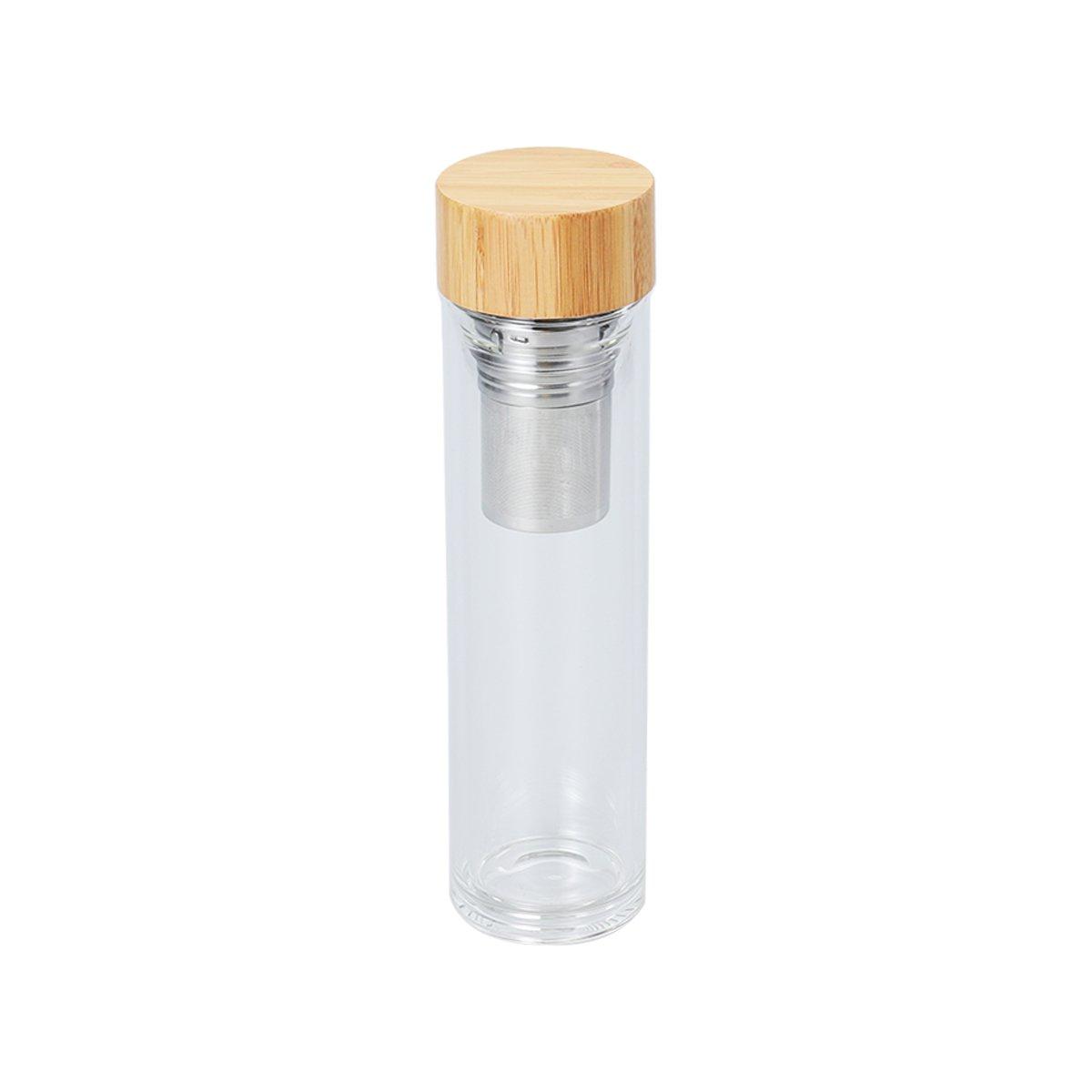 Bestonzon Bouteille d'eau en verre de 500ml avec couvercle en bambou Portable Gobelet Bistratal Tasse à thé