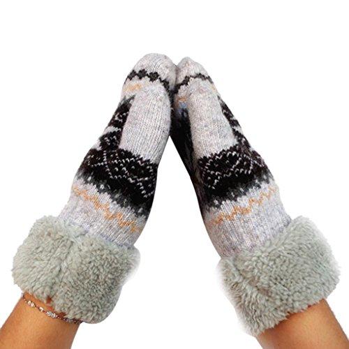 Women's Warm Winter Snow Gloves Mittens Beige - 3